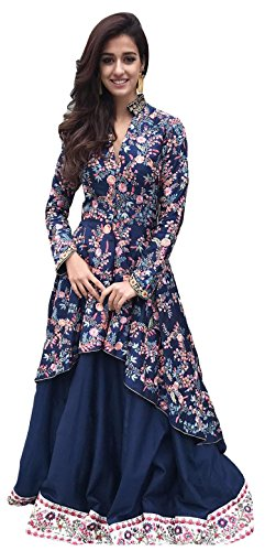 Clickedia Womens Heavy Banglory Silk Semi-stitched Navy Blue Digital Printed Indo Western Lehenga - Dress Material