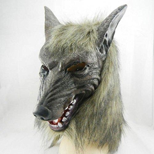 Minzhi Wolf Maske Gruselige Halloween-Kostüm-Pelz-Mane UV-Sensor-Modul uv Horror Latex Teufel Masken (Max Wolf Kostüm Für Erwachsene)