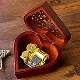 Boîte à musique, EN FORME DE C?ur vintage Wood sculpté Mécanisme à manivelle Boîte à musique, filles Cadeau pour Noël, Saint-Valentin, anniversaire,