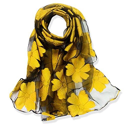 Yfzyt lady donna elegante scialle sciarpa morbida collo wrap foulard stola con motivo foglie ricamate - fiore giallo