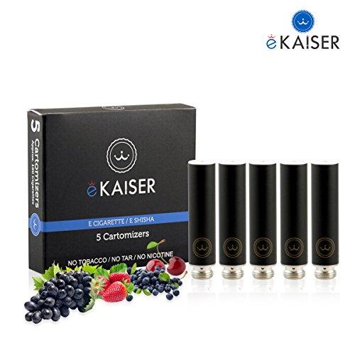 E-Zigarette   E-Liquid 5er Pack Schwarz Cartomizer   Beeren-Mix   E-Shisha   für eKaiser Wiederaufladbar E-Shisha Zigarette (Erdbeere, Heidelbeere, Kirsche, Traube, Wassermelone)