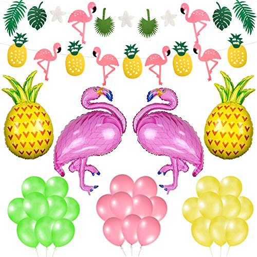 Phogary Summer Partydeko Flamingo Ananas Girlande und Luftballons (35-TLG. Set) - Tropical Party Flamingo Ananas Palm Blätter Garland Banner + Luftballons, Hawaiian Luau Beach Partydeko - Ananas-banner