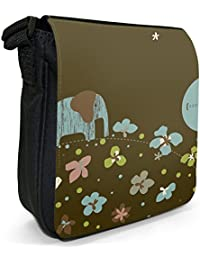 Balancing Elephant Small Black Canvas Shoulder Bag / Handbag
