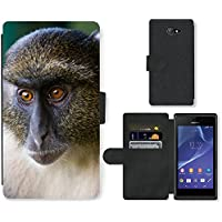 Super Galaxy Cell Phone Card Slot PU Leather Wallet Case // V00003899 sykes monkey mount kenya // Sony Xperia M2 D2303 D2305 D2306