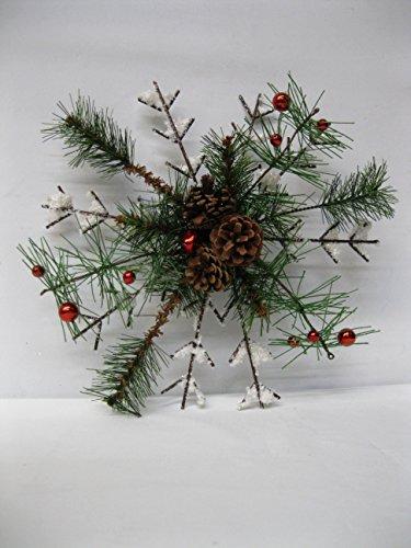 Schneeflocke mit Tannenzapfen und Miniatur-Ornamenten, 30,5 cm, Rot (Miniatur Tannenzapfen)
