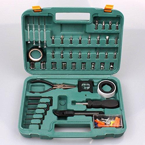 100-tlg-Werkzeugbox-mit-Bits-Zange-Maband-Cuttermesser-Werkzeugkoffer-etc-B-Ware