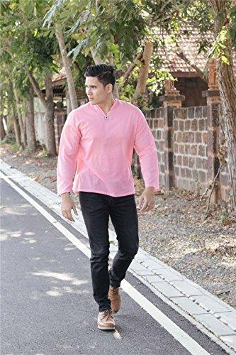 Lofbaz T-Shirt Uomo collo a V 100% Cotone Tailandese con Top Spiaggia Long Sleeve Rosa