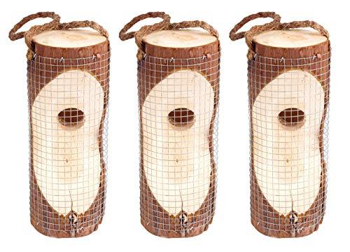Gardigo Vogelfutter-Säule FSC 3er Set I Futterstation für Wildvögel I Futterstation zum Aufhängen, Futterhalter aus Holz I Deutscher Hersteller