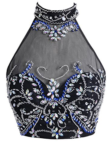 Bbonlinedress Robe de soirée et de bal emperlée florale col roulé deux pièce avec fente longueur ras du sol en mousseline Bordeaux
