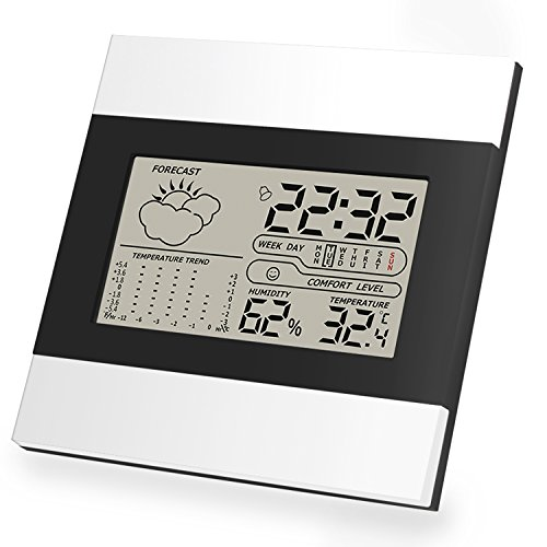 Aufzeichnung Digitaler (Digitales Thermo Hygrometer Indoor Hygrometer Thermometer Mini Luftfeuchtigkeit Messen mit LCD-Bildschirm, MIN / MAX-Aufzeichnungen, Trendtemperaturänderung, °C / °F-Schalter)