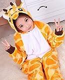 JT-Amigo Kinder Pyjama Strampler Schlafanzug Tier Kostüm für Halloween Karneval Fasching, Giraffe Kostüm, Gr. 140/146 -