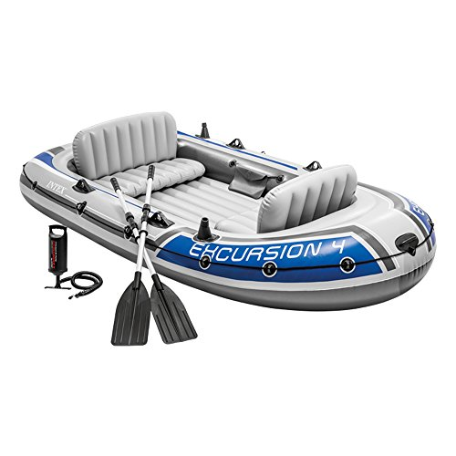 Intex Excursion 4 Set Schlauchboot - 315 x 165 x 43 cm - 3-teilig - Grau / Blau -