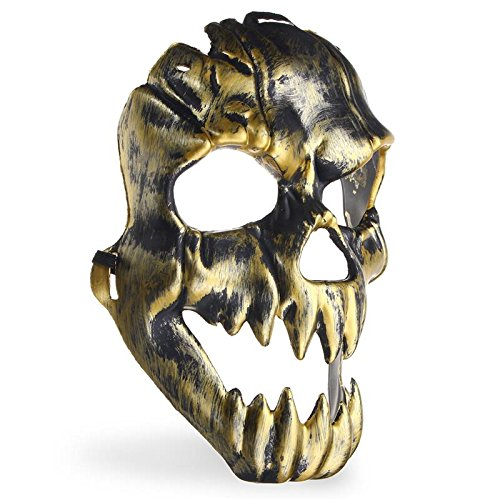 WindGoal Gruselige Geister-Maske Skelett-Maske für Halloween, Cosplay, Party, Kostüm, Requisiten, Gesichtsmaske, Maskerade, Party, Events, Dekoration Gold (Call Of Duty Ghost Halloween Kostüm)