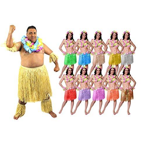 Zulu Paar KOSTÜM Verkleidung=Hula Rock in 10 Farben+LÄNGE 40cm =Zulu in 2 Verschiedenen GRÖßEN=MÄNNER -Plus Size + Frauen-Rosa