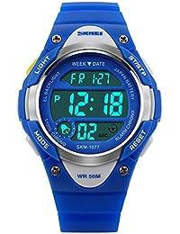 FeiWen Niño y Niña Deportivo Digitales Relojes de Pulsera LED Multifuncional Outdoor Militar 50M Impermeable Electrónica Azul Plástico…