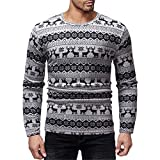 Legogo Herren Runden Kragen Langärmelige Herbst und Winter Mode Sweatershirt(L,grau)