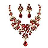 Scpink Angebote Halskette + Ohrringe Schmuck Set Womens Mixed Style Bohemia Farbe Bib Kette Halskette Ohrringe Schmuck (Rot)