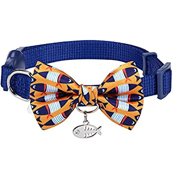 Blueberry Pet Intemporel Bleu marine Réglable Collier anti-fugue pour chat avec Motifs Poissons chics N½ud papillon & Breloque, Tour de cou 23cm-33cm
