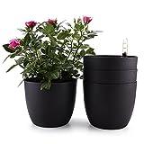 ComSaf MuciHom Selbstwässernder Blumentopf Pflanzgefäß Übertopf mit ERD-Bewässerungs-System Schwarz 15,5 * 13cm Kunststoff Rund 4er-Set