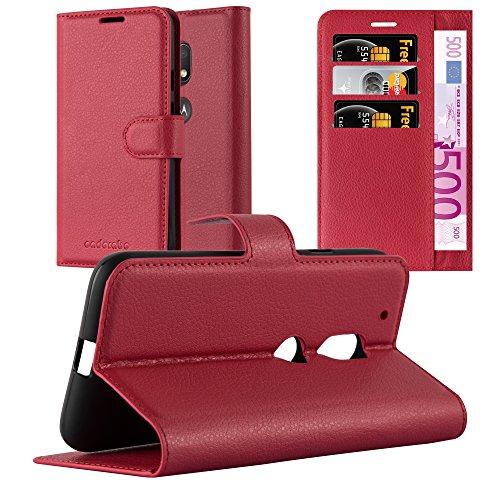 Cadorabo Hülle für Motorola Moto G4 Play - Hülle in Karmin ROT – Handyhülle mit Kartenfach und Standfunktion - Case Cover Schutzhülle Etui Tasche Book Klapp Style
