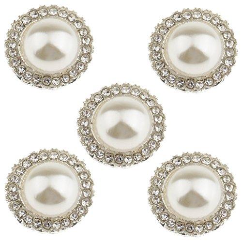 Gazechimp 5 Stücke strass Perle Knopf Nähknöpfe Handwerk - Farbe 2, 18mm (Farbe Stück 2 Perlen)