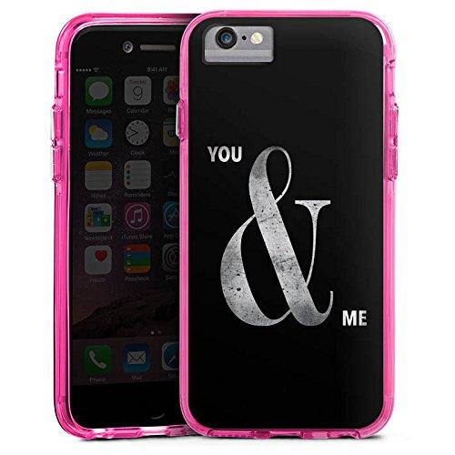 Apple iPhone 8 Bumper Hülle Bumper Case Glitzer Hülle You & Me Friendship Freundschaft Bumper Case transparent pink