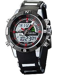 SHARK Reloj de Hombre LCD Alarma cronógrafo Deporte Rojo Dial SH043