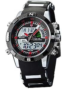 SHARK Montre LED Homme Quartz Sportive Bracelet Acier Inoxydable Etanche Neuf...