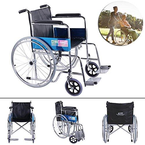 occitop galvanisch Stahl Erholung Rollstuhl Senioren Rollstuhl faltbar (Stahl-rollstuhl)