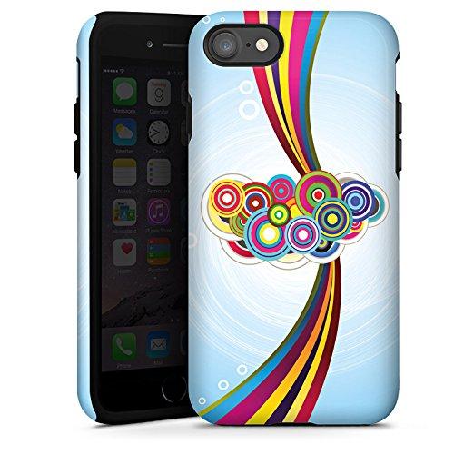 Apple iPhone X Silikon Hülle Case Schutzhülle Schnörkel Regenbogen Muster Tough Case glänzend