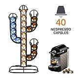 SUNJULY Nespresso Kapselhalter, Cactus Kaffeekapselständer Edelstahl für 40 Kaffeekapseln Platzsparend für Küche, Café, Büro, Kapsel, Aufbewahrung, Zuhause, 42x19x10cm, Schwarz