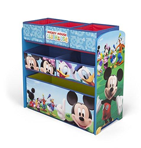 Disney - Mueble guarda juguetes y organizador de madera y tela Mickey Mouse, color azul (TB84847MM)