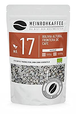 Green Coffee - Bolivia (Green Coffee Beans) - Medium-Bodied Aroma, Chocolate-Like Honey-Like with Light Fruit - from Certified Organic-Organic Cultivation - 500g from kaffeearomen