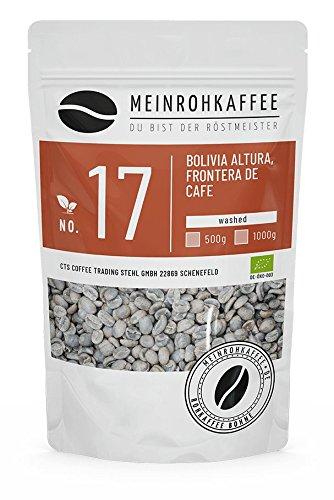Rohkaffee - Bolivia (grüne Kaffeebohnen) - mittelkräftiges Aroma, schokoladig honigartig mit leichter Frucht - aus kontrolliert biologisch-organischem Anbau - 500g