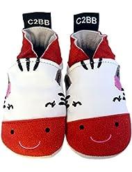 C2BB - Chaussons bébé en cuir souple fille brodé   Zèbre rouge