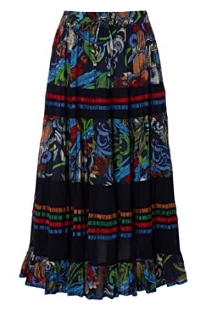Roman Women's Printed Tiered Skirt Navy Size 22