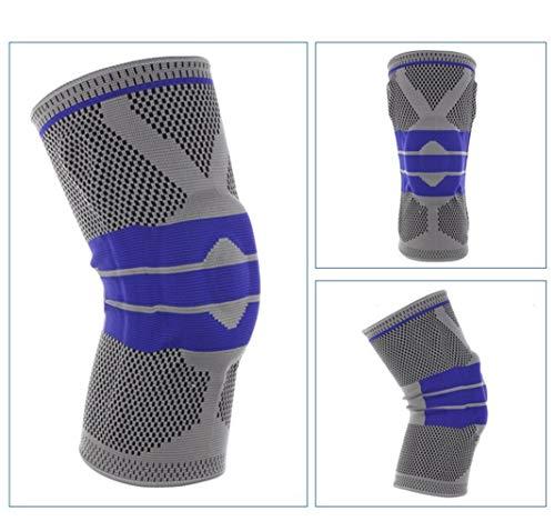 YLBHXC for Dicke S-5XL Plus Größe Basketball Unterstützung Silikon Gepolsterte Knieschützer Unterstützung Klammer Patella Protector Schutz Kniepolster (Color : Grey, Size : 4XL 60cm to 64cm)