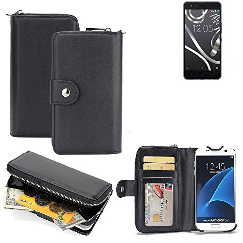 K-S-Trade 2in1 Handyhülle für BQ Readers Aquaris X5 Cyanogen hochwertige Schutzhülle & Portemonnee Tasche Handytasche Etui Geldbörse Wallet Case Hülle schwarz