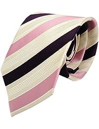 Diseñador corbata de seda - rosa morado violeta crema beige rayas
