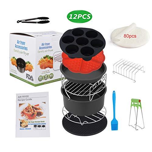 Sinbide Accessori per friggitrice ad aria calda set di accessori per friggitrice universale 12 pezzi Airfryer 12 pezzi con tortiera/piastra per