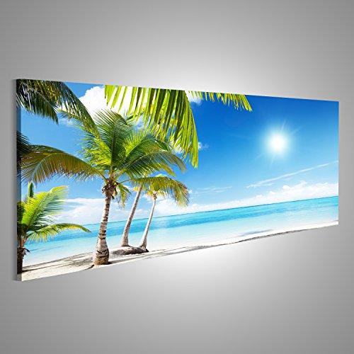 islandburner Bild Bilder auf Leinwand XXL Panoramabild Leinwandbild Wandbild Kunstdruck Poster Topseller AMZ Palmen Strand Blaues Meer Sonne