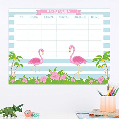 Wandkings Stundenplan Flamingos - Whiteboardfolie abwischbar - Wähle eine Größe - 40 x 30 cm