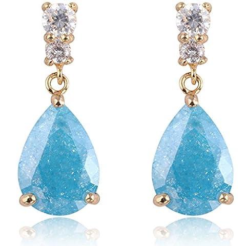 Yazilind Dazzling Gold Filled Blue Teardrop Cut Flawless Cubic Zirconia Claw Dangle Drop Earrings