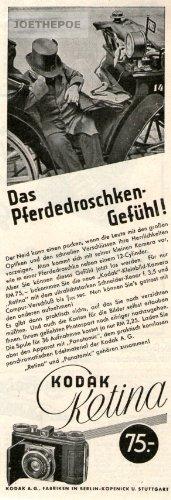 Kodak Kamera Alte (1934 - Anzeige / Inserat : KODAK RETINA KAMERA / DAS PFERDEDROSCHKEN-GEFÜHL - Format 210x70 mm - alte Werbung / Originalwerbung/ Printwerbung / Anzeigenwerbung)