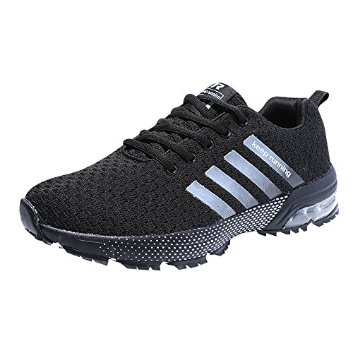 Zapatillas Deporte Hombre Zapatos para Correr Athletic Cordones Air Cushion 3cm Running Sports Sneakers Negro Negro-Blanco Azul Rojo Negro 37