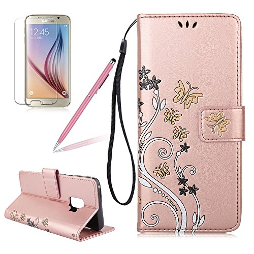 Coque pour Samsung Galaxy S9, Girlyard Créatif Fleurs Papillons Étui de Protection en PU Portefeuille Fermeture Magnétique Porte Carte Design Antichoc Couverture pour Samsung Galaxy S9 Or Rose