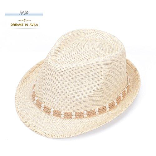 DMXY-chapeaux de paille femme Chapeau mode clignote Joker boys Sun Hat Beach Hat Summer Jazz Sun Hat Beige