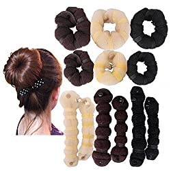 Black : 759Shop Hot Buns 2 Piece Magic Hair Styling Styler Twist Ring Former Shaper Doughnut Donut Chignon Bun Maker Clip Hair Curler Accessory Small & Large (Black)