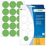 Herma 2275 Vielzwecketiketten bunt, rund (Ø 32 mm) grün, 480 Klebepunkte, 32 Blatt, Papier, selbstklebend