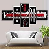 EgBert 5 Pcs Abstrait Mur Art Rouge Noir Gris Moderne Toile Imprimer Peintures...